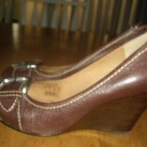 Euc Womens Size 9 Fossil Brown Stacked Wedge Leather Heels Buckle Accent Photo
