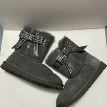Euc Womens Ugg Australia Bow Side Soft Boots Gray Sheepskin Suede Size 6 Photo