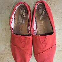 Euc Youth Girl's Toms Slip-on Canvas Classic Red Sneaker Flats Shoes - Size 6 Photo