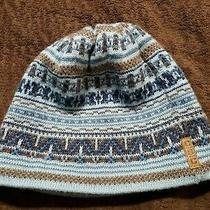 Euc Youth Girls Quality Columbia Knit Winter Hat Blue Brown Fleece Lined Photo