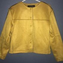 Euc Zara Basic Womens Faux-Suede Snap-Front Jacket-Mustard Yellow-L Photo
