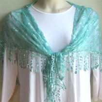 European  Lace   Triangle Scarf  Tassel  Shawl  Aqua Photo