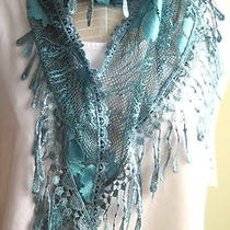 European  Lace   Triangle Scarf  Tassel  Shawl   Aqua & Black Photo
