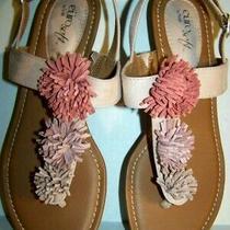 Eurosoft Sofft Blush Pink Low Wedge Pompom Sandals Sale Womens 8.5m Maisie Ec Photo