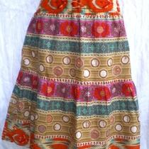 Evan Picone 3-Tier Boho Peasant Skirt 8 Beige Orange Aqua Purple Lined Cotton Photo