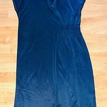 Ex Topshop Black Short Sleeve Wrap Dress Asymmetrical Hem Size 12 Top Shop Photo