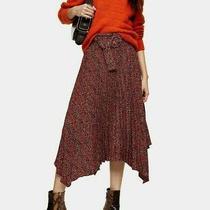 Ex Topshop Red Leopard Print Belted Pleat Midi Skirt Uk 8 Us 4 Eur 36(ts20-11) Photo