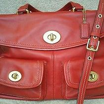 Exc Rare Large Coach Hamptons Legacy Laptop Business Bag Red Leather 12980 Photo
