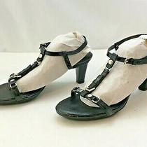 Exc  Tod's Stunning Italy 38.5 8 Black Patent Leather Silver Heels Sandals Photo