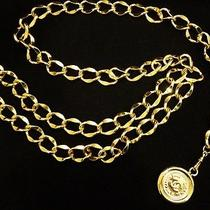 Excellent Authentic Chanel Vintage Coco Double Chain Cambon Belt 35