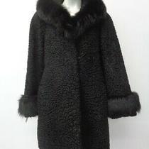 Excellent Black Persian Lamb & Fox Fur Coat Jacket Women Woman Size 6-8 S-M Photo
