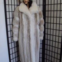 Excellent Blush & White Fox Fur Coat Women Woman Size 8 Medium Photo
