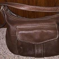Excellent Brown Solid Leather Fossil Bag With Key Super Clean Photo