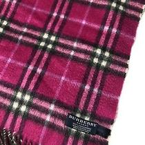Excellent Burberry London Magenta Cashmere Women's Plaid Fringe Scarf Size O/s Photo