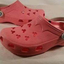 Excellent Condition Womens Cute Pink Mickey Mouse Hole Crocs Photo