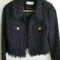 Excellent French Camaieu Crop Fringe Navy Gloss Jacket Gold Button Sz Xs -S 36   Photo
