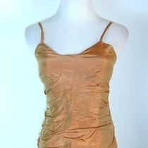 Excellent Gianni Versace Italy Metallic Copper Bustier Ruched Corset Top 40 Xs S Photo
