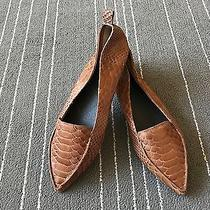 Excellent Jeffrey Campbell Vionnet Tan Snake Embossed Leather Pointy Flats 9m Photo