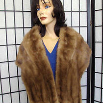 Excellent Natural Pastel Mink Fur Stole Wrap Shawl Women Woman Size 13