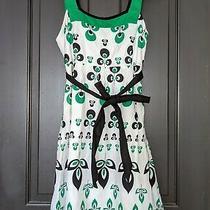 Excellent Paper Doll Green Black Floral Tank Straps a Line Midi Dress 12 Sm Photo