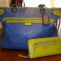 Excellent Pre-Owned Coach Handbag With Wallet Blue and Lime Green  Photo
