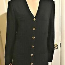 Excellent St John Basics Black Santana Knit Blazer   Jacket Sz 12  L Photo