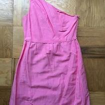 Excellent Used Condition J. Crew Bright Pink One Shouldered Bridget Dress Size 8 Photo