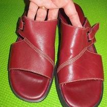 Excellent Women's Red Liz Claiborne Villager Open Toe Slides Sandals Sz 7.5 Photo