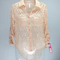 Exhileration New Blush Sheer Lace Button Up Hi Low L/s Blouse Top Xs Photo
