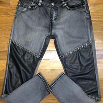 Exocet (Balmain Moto Bike Look) Mens Acid Washed Slim Skinny Jeans Size 31x29  Photo