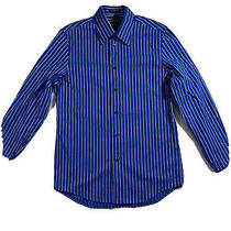 Express 1 Mx Blue Striped Long Sleeve Dress Shirt Button Down Small Photo