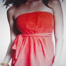 Express 10 Bonfire-Orange Clip Dot  Strapless Pleated Tube Dress M Photo