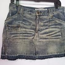 Express 100% Cotton Ladies Jeans Skirt Acid Wash Size 5/6 Front & Back Pockets Photo
