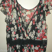 Express 100% Silk Black Red Pink Cherry Blossoms Full Length v-Neck Dress 9/10 Photo