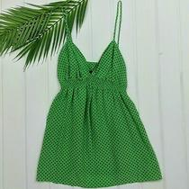 Express 100% Silk Green & Black Polka Dot Babydoll Tank Top Size Xs Photo
