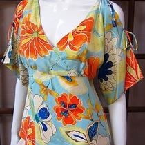 Express 100% Silk Short Sleeve Blouse Size 9/10 Floral Print  Photo