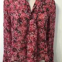 Express 100% Silk Size 1/2 Blouse With Bow Tie. Euc. Photo