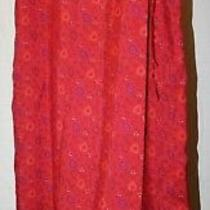 Express 100% Silk Size 5/6 Pinkish Red Floral Heart Print Long Wrap Skirt Photo