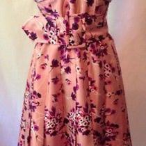 Express 100% Silk Strapless Dress Size 4 Pink Floral Lined Wedding Party Prom Photo