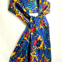 Express 100% Silk Tropical Print Scarf Green Blue Red Yellow 11