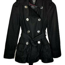 Express 149 Womens Peacoat Jacket Black Wool Ruffle Belt Coat Size Xs X-Small Photo