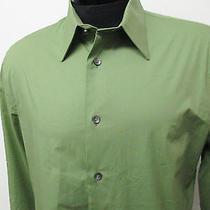 Express 1mx Casual Dress Shirt Green Sz M 15-15.5 Mens Solid L/s993 Photo