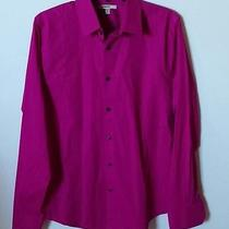 Express 1mx Extra Slim Fit Dark Magenta Men Buttondown Shirt Size Medium 15/15.5 Photo