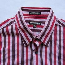 Express 1mx Men's Modern Fit Stretch L/s Button Red Striped Shirt - L (16-16.5) Photo