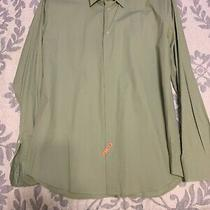 Express 1mx Mens Dress Shirt Size Large Modern Fit Solid Green Long Sleeve New Photo