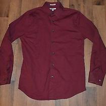 Express 1mx Mens Medium Extra Slim Fit Long Sleeve Casual Dress Shirt Red Cotton Photo