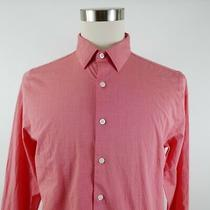 Express 1mx Mens Stretch Fitted Ls Button Down Coral Dress Shirt Large 16-16.5 Photo