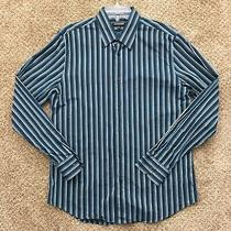 Express 1mx Modern Fit Mens Large Blue Striped Long Sleeve Button Front Shirt Photo
