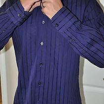 Express 1mx Modern Fit Stretch Cotton Dress Collar Striped Shirt 15-15.5 Medium Photo