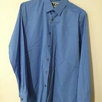 Express 1mx Slim Fit Dress Shirt Men Size 16-16 1/2  Blue Photo